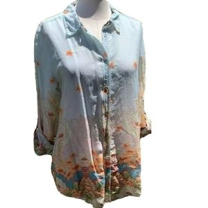 Johnny Was Button Down Blouse Top S Boho